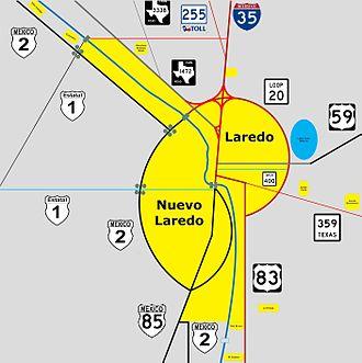 Laredo–Nuevo Laredo - Map of the Laredo–Nuevo Laredo Metropolitan Area