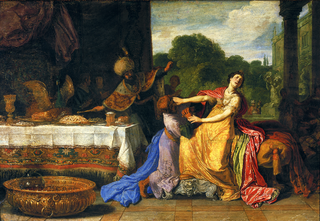 Haman begging Esther for mercy