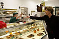 Laura Bush purchases chocolates at Seroogy's in De Pere, Wisconsin.jpg