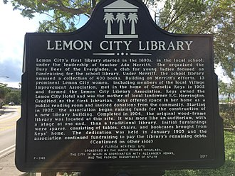Lemon City Branch Library - The Lemon City Library plaque commemorating the location of the original library. The site is currently adjacent to the where the current library is located.