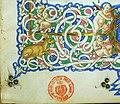 Leonardo bruni, de bello gallico contra gothos, firenze 1459 (bml, pluteo 65.10) 07 cervo e putto.jpg