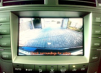 Backup camera - Backup camera view on the navigation screen of a Lexus IS 250