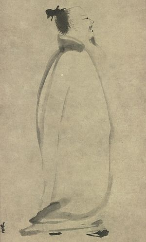History of literature - Li Po Chanting a Poem, by Liang K'ai (13th century)