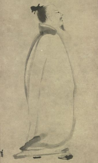 Tang dynasty Chinese poet Li Bai, in a 13th-century depiction by Liang Kai LiBai.jpg