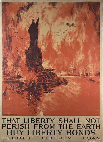 Apocalyptic and post-apocalyptic fiction - Joseph Pennell's 1918 prophetic Liberty bond poster calls up the pictorial image of a bombed  New York City, totally engulfed in a firestorm. At the time, the armaments available to the world's various air forces were not powerful enough to produce such a result.