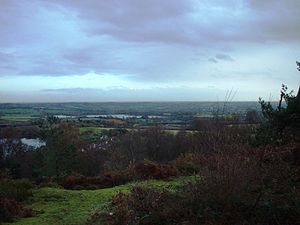 Rednal - View over Cofton Hackett village and the reservoirs, from Bilberry Hill