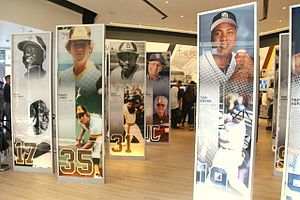 San Diego Padres Hall of Fame - Portraits of inductees (from left to right) Nate Colbert, Randy Jones, Dave Winfield, Jerry Coleman, and Tony Gwynn