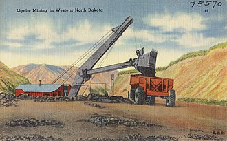 Lignite - Lignite mining, western North Dakota, US (c. 1945)