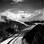 Lituya Glacier, tidewater glacier with moraines and mountain glacier merging into main glacier, September 16, 1966 (GLACIERS 5599).jpg
