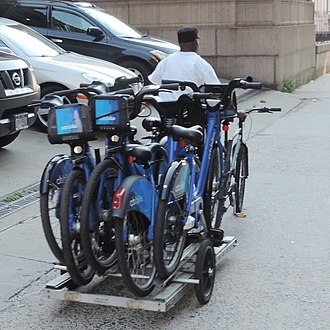 Citi Bike - Transporting bikes on a bicycle trailer