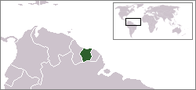 A map showing the location of Suriname