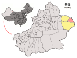 Location of Yiwu County (red) within Hami City (yellow) and Xinjiang