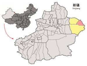 Yiwu County - Image: Location of Yiwu within Xinjiang (China)