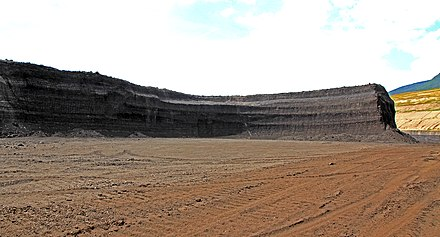 Layer of lignite for mining in Lom CSA, Czech Republic Lom CSA Most Czech Republic 2016 7.jpg