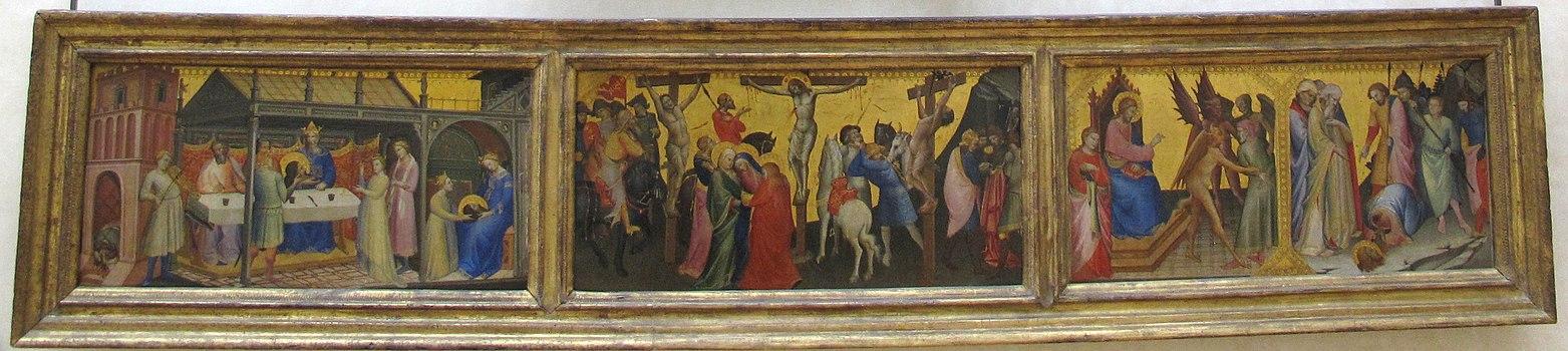 Lorenzo monaco, predella con banchetto di erode, crocifiss. e storie di s. jacopo, 1387-1388, da cappella nobili di s. m. degli angeli a firenze 1.JPG