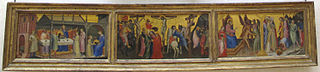 Triptych of the beheading of John the Baptist, crucifixion of Christ, and Saint James