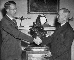 Luis Walter Alvarez - Receiving the Collier Trophy from President Harry Truman, White House, 1946