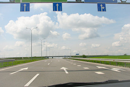 The Kharkiv-Dnipro motorway (M18) M18 Valki Interchange (Parclo) Ukraine.jpg
