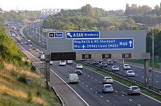 Denton, Greater Manchester - The M60 motorway at Denton, approaching Bredbury