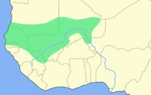 carte de l'ouest de l'Afrique avec une vaste zone colorée couvrant le Sénégal et le sud de la Mauritanie et du Mali actuels