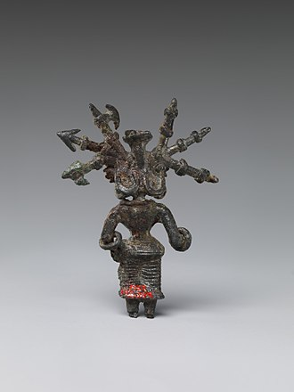Kosambi - Bronze Goddess with Weapons in Her Hair, from Northern India (possibly Kausambi), 2nd century BCE