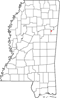 Location of Mayhew, Mississippi