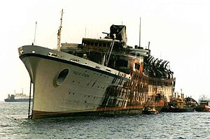 SS Flandre (1952) - Pallas Athena laid up in Perama Bay in 1994 after its fire.