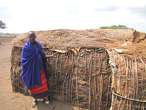 English: Maasai shelter, Ngorongoro Conservati...