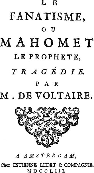 Criticism of Muhammad - Frontispiece of the 1753 edition of Voltaire's play Mahomet