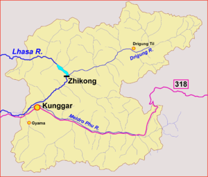 Maizhokunggar County - Sketch map showing rivers
