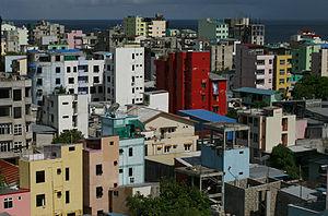 Malé - The crowded skyline of Malé