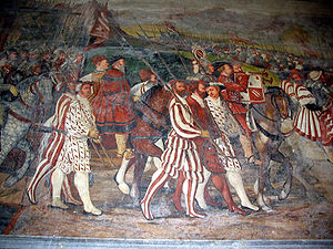Condottieri - Detail of the frescoes, with soldiers.