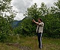 Man shooting targets with a GSG 1911 .22 caliber handgun in Clearwater Wilderness, WA.jpg