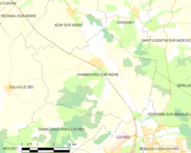 Mapa obce Chambourg-sur-Indre