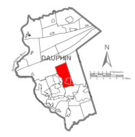 Map of Dauphin County, Pennsylvania highlighting West Hanover Township