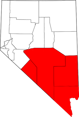 Southern Nevada -  The counties most commonly associated with Southern Nevada with Mineral County not shown in red