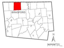 Map of Bradford County with Ridgebury Township highlighted