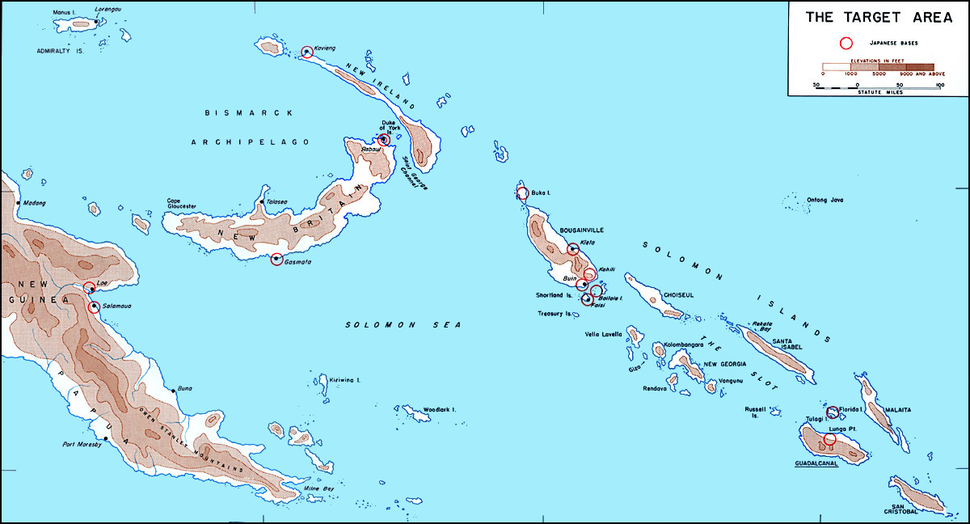 Map of Solomons area in 1942