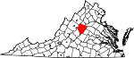 State map highlighting Albemarle County