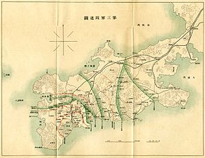 Military attachés and observers in the Russo-Japanese War - Map showing movement of the Japanese 3rd Army.