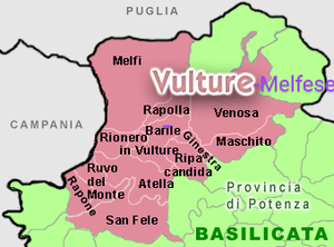 Vulture (region) - Image: Map vulture in basilicata
