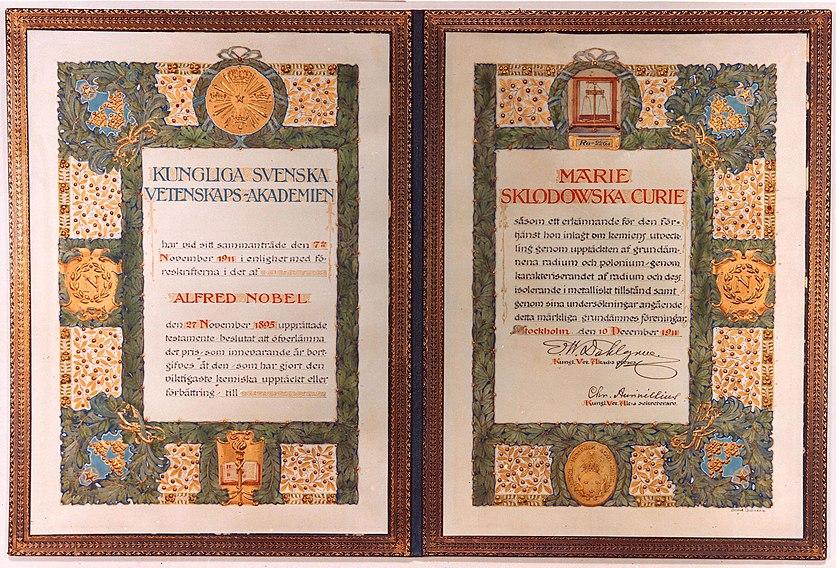 Marie Skłodowska-Curie's Nobel Prize in Chemistry 1911