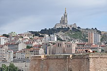Marseille (France), remote view of Notre-Dame de la Garde and Saint-Victor Abbey.JPG