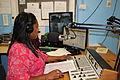 Maryposa Deidenang hosts a show at the Nauruan radio station, 28 May 2013. Matt Robertson - DFAT (12045932634).jpg