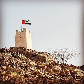 Masfout - Masfout Fort, overlooking the town of Masfout, Ajman, UAE.
