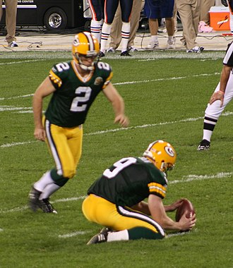 Placekicker - Mason Crosby playing in 2007.