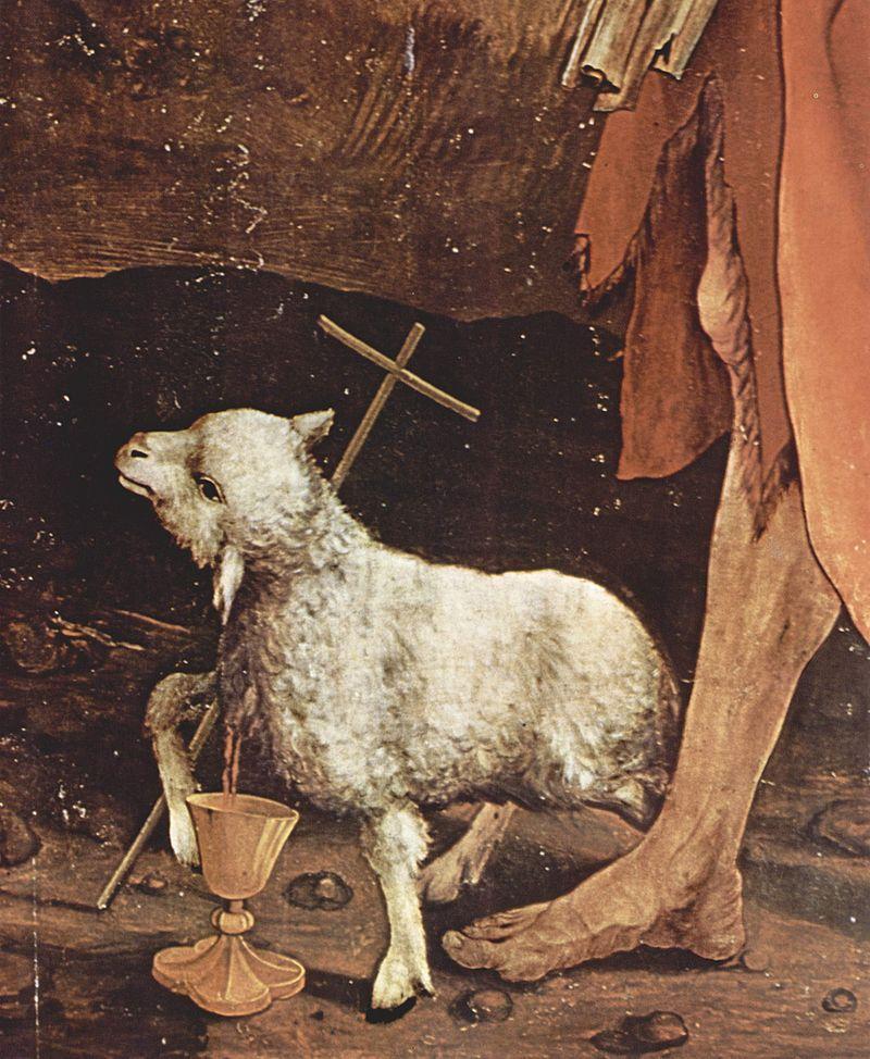 Agnello di Dio, particolare della Crocefissione di Matthias Grünewald dans immagini sacre 800px-Mathis_Gothart_Gr%C3%BCnewald_025