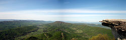 Panoramic image of the Catawba Valley from the McAfee Knob overlook along the Appalachian Trail