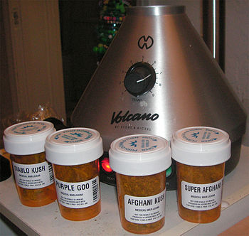 English: Medical Marijuana surrounding a vapor...