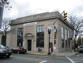 Melrose, Massachusetts - Former MassBank building downtown which was used for a bank scene in the movie The Town (2010)